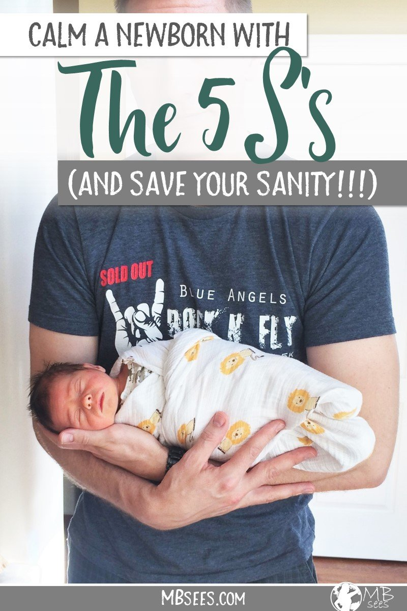 Struggling to soothe a newborn? We can't rave enough about the Happiest Baby On The Block 5 S's strategy! Try the newborn tips in the 5 S process to calm your crying baby like a champ, like the 5 S swaddle and the shushing method. Pin this for later, get the baby book, and save your sanity! #HappiestBabyOnTheBlock #The5Ss #NewbornTips #ParentingTips #BabyBook